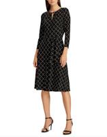 Lauren Ralph Lauren Equestrienne-Print Jersey Dress $145 Sz 14 # 1B 1085/14 New