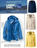 """NWT Lands End """"Weather Channel"""" Womens Hooded Rain Jacket Coat S/P, M/P, M/T"""