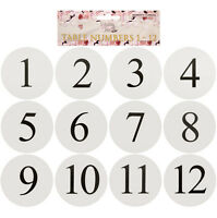 WHITE CIRCULAR WEDDING TABLE NUMBERED CARDS 1-12, PARTY, OCCASION, CONFERENCE