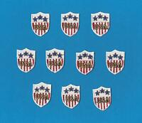 10 Lot Iron On Vintage USA American Flag Small Shield Patches Hat Shirt Crests