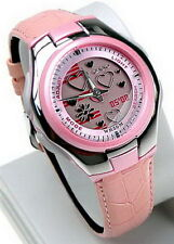 Casio Pink Lady's POPTONE Leather Alarm 50m Analog Digital Watch LCF-10L-4AV NEW