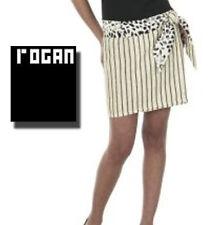 ROGAN WOMEN'S MINI SKIRT - IVORY & STRIPES CHEETAH PRINT TIE BELT  sz 15 NWT