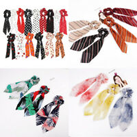 Solid Spot Floral Bow Ribbon Scrunchie Hair Band Hair Ties Rope Headband Scarf