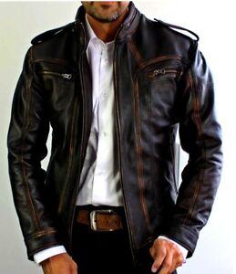 Mens Biker Motorcycle Slim Fit Vintage Distressed  Winter Real Leather Jacket