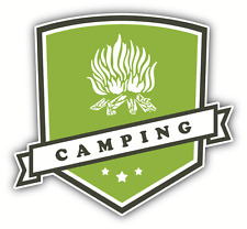"Camping Travel Label Car Bumper Sticker Decal 5"" x 5"""