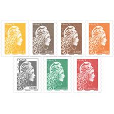 Marianne l'engagée série de 7 timbres autoadhésifs 2018.