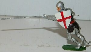 Old BRITAINS 1950s Lead, Knight of Agincourt On Foot w/Lance, From Set #1664, P