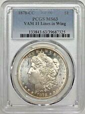 1878 CC Morgan Dollar PCGS MS63 VAM 11 Wing Lines TOP 100 Silver Registry Coin
