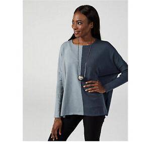 WynneLayers Soft Yarn Unstrcutured Colourblock Sweater Sea Most Grey Medium New