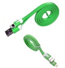 Green Flat Noodle USB Charger Data Cable Lead for IPhone 5 5S/C 6 ipod ipad Air