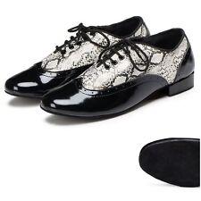 Men's Snakeskin Print Microfiber Ballroom Shoes Tango Dance Shoes Plus Size US12