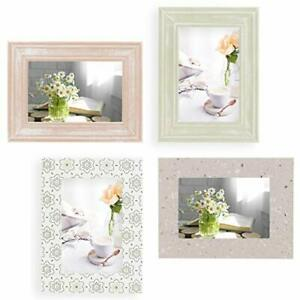 Ohana Avenue 4x6 Picture Frame 4x6 Frame Set of 4 For Wall Collage - Wood Tur...