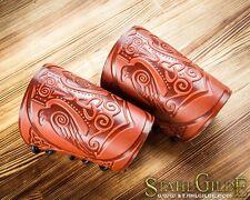 Handmade Pair Leather Cuff Archery Arm Guards LARP Bracers Armor Thor's Hammer B