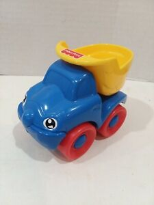 "Fisher Price plastic blue Happy dump truck 3 1/2""T 4 1/2""L 2 3/4""W Toddler 1999"