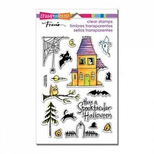 STAMPENDOUS RUBBER STAMPS CLEAR SPOOKY HOUSE HALLOWEEN STAMP SET