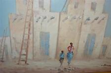 VINTAGE OIL PAINTING FRENCH ARTIST L BONNER NEW MEXICO TAOS HOUSES