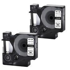 2pk For Dymo Rhino 4200 5200 12 Black On White Flexible Nylon Label Tape 18488