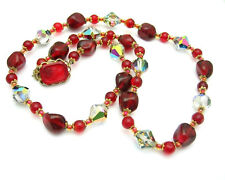 CAMEO CLASP Deep BLOOD RED GLASS and AB CRYSTAL BEAD NECKLACE Vintage Goldtone