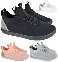 LADIES WOMESN FLAT FITNESS GYM RUNNING SPORT FLAT LACE UP TRAINERS SHOES SZ 3-8