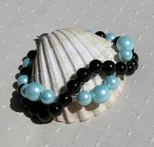 "Black Onyx & Turquoise Shell Pearl Crystal Gemstone Wave Bracelet ""Azure Sunset"""
