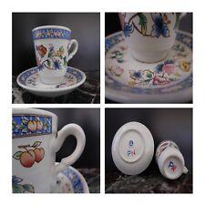 Tasse soucoupe café céramique porcelaine GL Art Nouveau Design XXe PN Corée N131