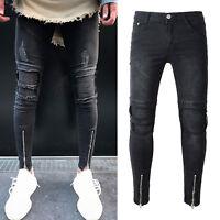 Mens Ripped Zip Jeans Jeggings Slim Fit Denim Button Pants Biker Skinny Trousers