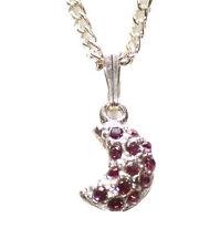Red Diamanté Media Luna Colgante Collar Cadena de Metal Cromado/(Zx153)