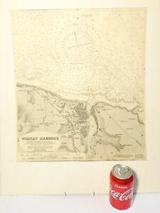 1932 Whitby Harbour Ordnance Survey Map HMS FITZROY Ship 40 x 46 cm