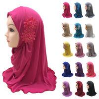Muslim Kids Girls Amira Scarf Hijab Flower Headscarf Wrap Headwear Islamic Arab