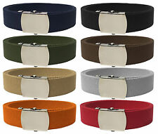 Plain Military Style Web Belt with Chrome Buckle and Tip - Various Colors
