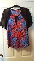 Derhy black,red and blue sequinned top size L