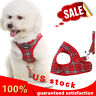 Red Classic Plaid Pet Harness With Leash Adjustable Soft Harness For Small Dogs