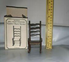 Vtg Miniature Rocking Chair Dollhouse Ladder Back Woven Seat Rocking Chair Nib
