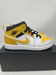 New Nike Air Jordan 1 Mid University Size 13c Gold White Black (PS) 640734-170