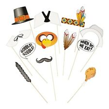 12 Pack Thanksgiving Turkey Pilgrim Photo Booth Stick Props Brand New