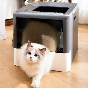 Cat Litter Box Foldable Fully Enclosed Sandbox Top Entry Large Capacity Toilet