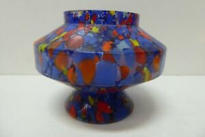 VINTAGE MID CENTURY SPECKLED MULTI COLOUR TANGO ART GLASS VASE END OF DAY