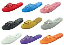 Women's Chinese Mesh Floral Beaded Sequined Slipper Flip Flop Sandals--1313 Mesh