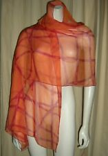 "HERMES Etole Mousseline Silk Bulduc Ribbon Shawl Wrap Scarf Orange Red 70""x 25"""