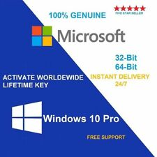 MICROSOFT Windows 10 PRO Professional 32 64bit Digital chiave di licenza OEM ORIGINALE