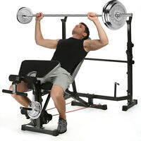 Olympic Weight Bench Set CAP Barbell Deluxe Weights Lifting Bar Press Bench