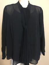 NWT Women's Michael Kors Plus Size 2X Navy Tie Neck Semi-Sheer Pleated Top/Tank