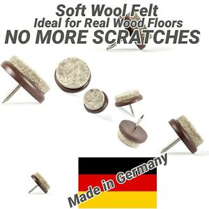 Felt Furniture Gliders Nail-in Floor Protectors - Brown - Made in Germany