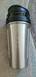 Nutri Ninja 24 oz Stainless Steel Tumbler Container Cup w/ Lid Silver Black