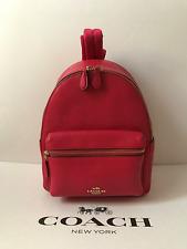 NWT Coach BRIGHT PINK Mini Charlie Leather Backpack Bag F38263 -New$295