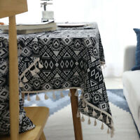 Geometry Tablecloth Jacquard Cotton Linen Tassel Table Cover Dust Proof Cloth