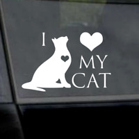 "6"" I Love My Cat Sticker Vinyl Car Window Laptop Yeti Decal"