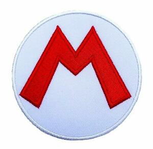 """Super Mario """"M"""" Hat Logo Embroidered Patch -new"""