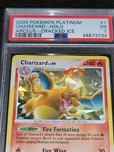 2009 Charizard Platinum Arceus Cracked Ice Holo Promo Pokemon #1 PSA 1