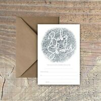 BABY SHOWER INVITATIONS BLANK SILVER FOIL PRINT EFFECT PACKS OF 10